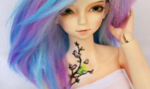 Blue Alpaga wig BJD