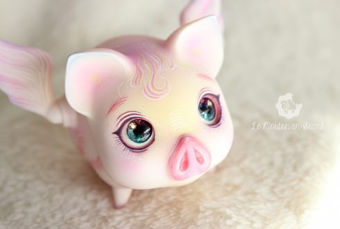 Voador pink vetch flying pig bjd pet