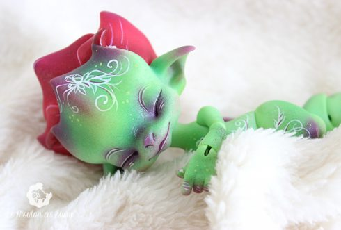 Spinie Mishi's doll dragon flower creature animal pet creation makeup artist