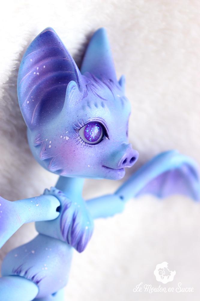 nyxy's creations bat bjd doll pet animal creature makeup artist paint blue