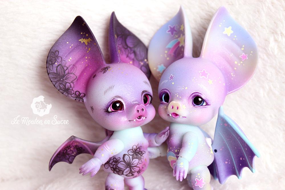 Bram charles creature cabinet bjd doll makeup bat chauve-souris mini pet animal creature halloween twins