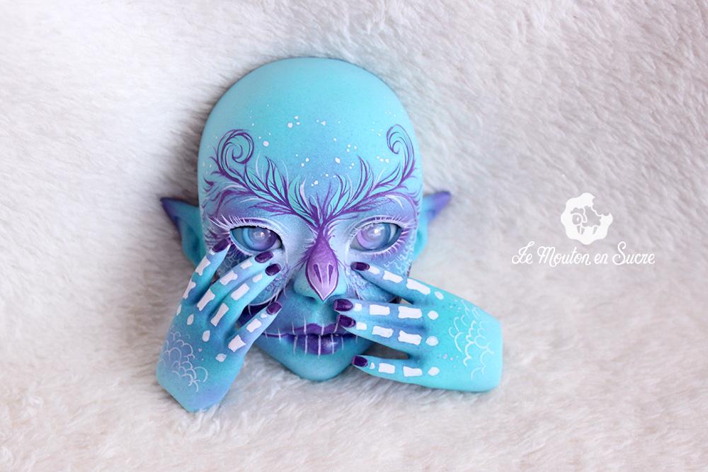 Dahlia Faewoodsdolls bjd doll human sd blue skeleton skull artist makeup custom owl calavera fantasy